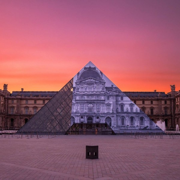Jr Completes Monumental Anamorphic Artwork Louvre' Glass Pyramid