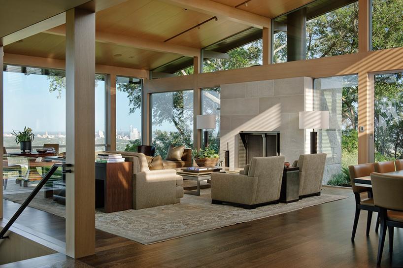 lake flatos hillside house in texas overlooks downtown austin
