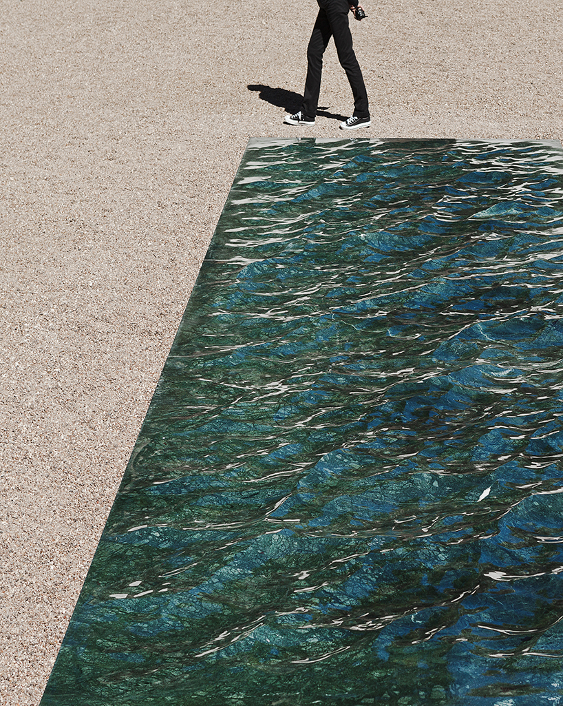 mathieu lehanneurs liquid marble surface spills from