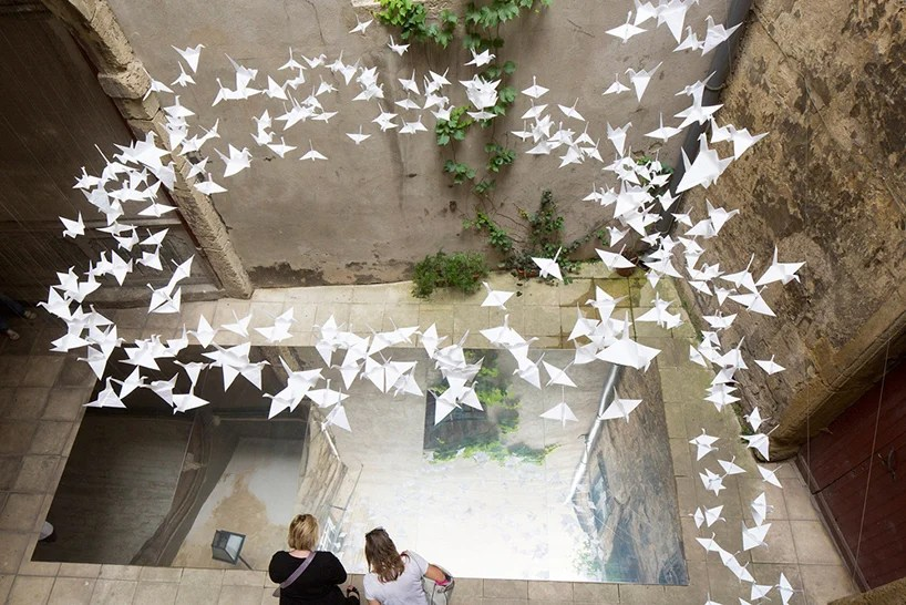 Flock Of Origami Birds At The Festival Des Architectures Vives