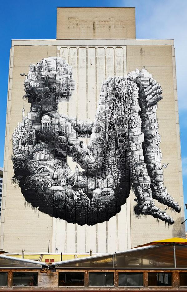 Phlegm' Enormous Toronto Mural Breathes Life