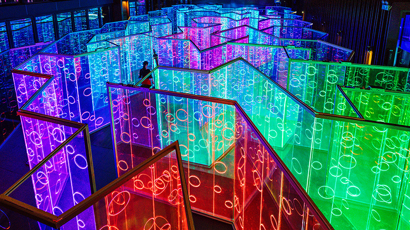 rainbowhued light labyrinth by brut deluxe forms an immersive infinity room in china