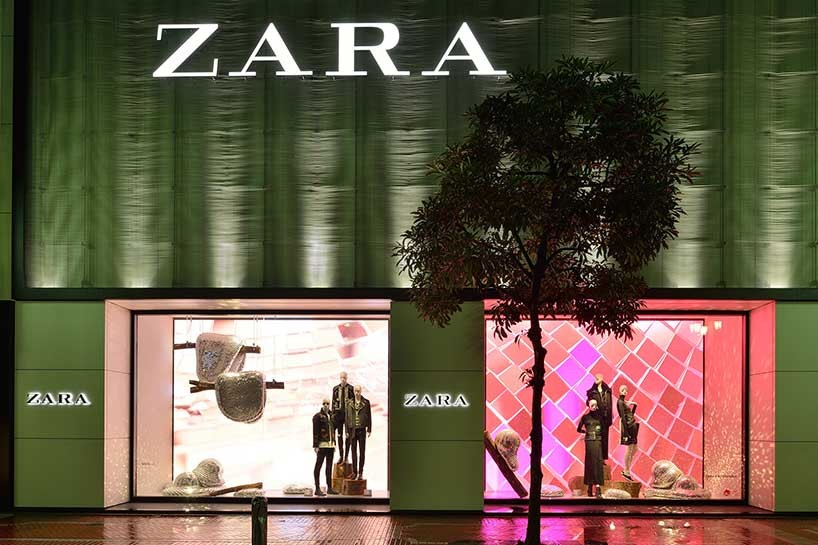 rotganzen creates disco forest themed window display for zara
