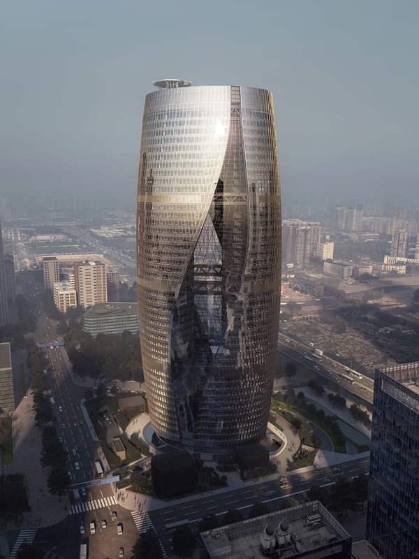 Zaha Hadid Leeza Soho Tower Feature Twisting Atrium