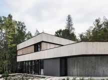 ACDF architects wraps lake house in canada with wooden band