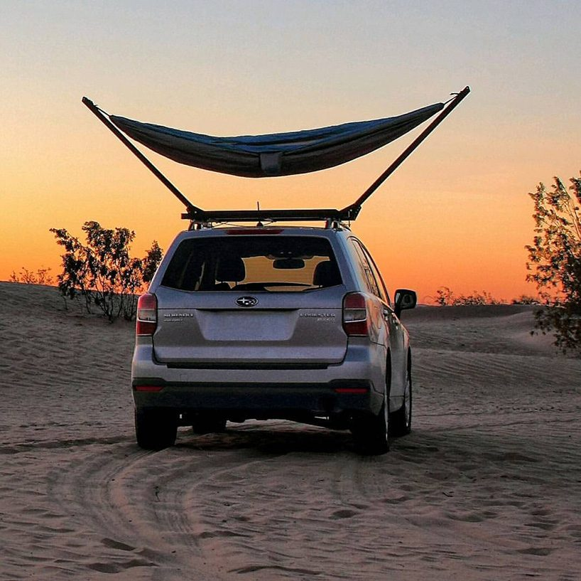 the trailnest hammock attaches to your roof bars for