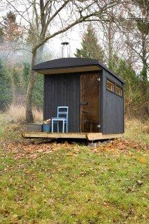 Denizen Works Tiny Mobile Sauna Tows Frozen