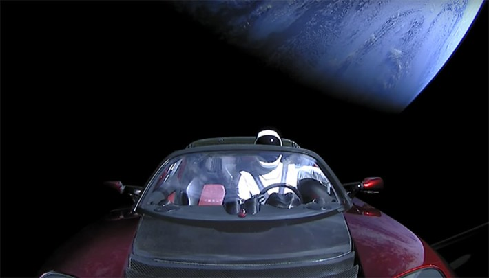 watch elon musk's spaceX starman driving his tesla roadster in space designboom
