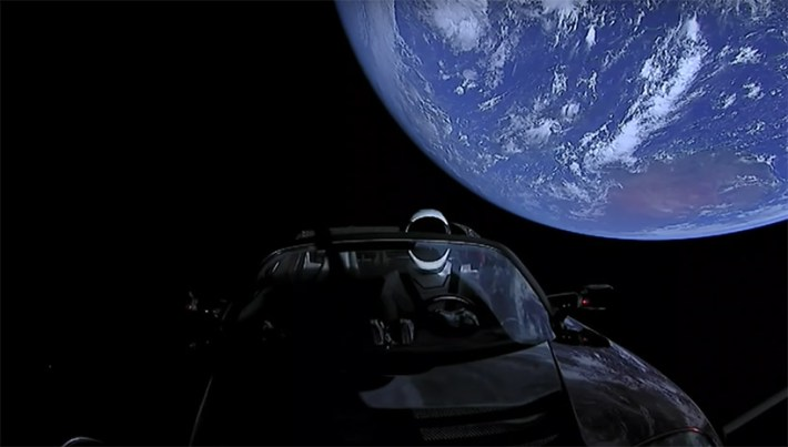 watch elon musk's spaceX starman driving his tesla roadster in space designboom