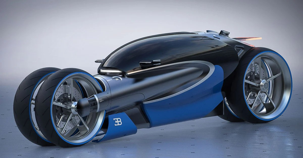 Romain Gauvin Designs Futuristic Four Wheel Bugatti 100m