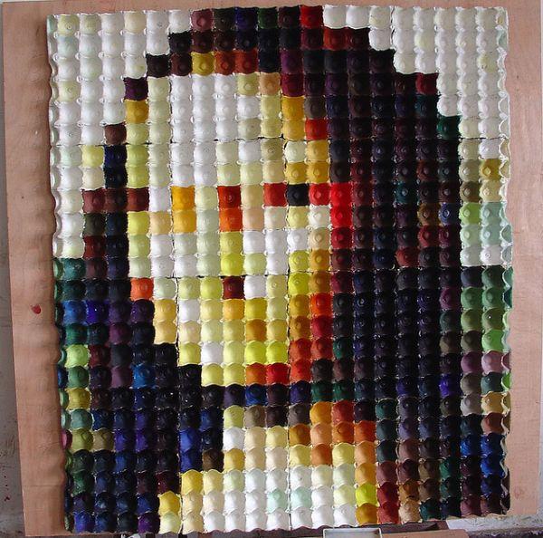 Mona Lisa Made from egg cartons