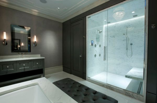 Glass-enclosed Walk-in shower