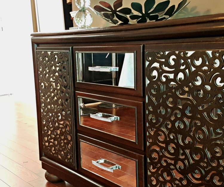 How to make a mirrored buffet from a dresser. DIY mirrored buffet, Mirrored sideboard, mirrored console table, Dresser to Buffet