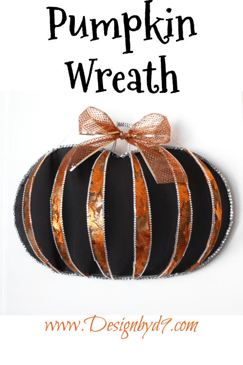 Here is an innovative way to use those dollar tree wire pumpkin wreath forms, to make some front door decor for Fall, Halloween or Thanksgiving!