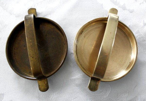 Brass handles before and after using twinkle brass cleaner
