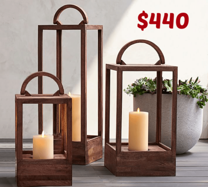 Pottery Barn Mango wood lantern dupe. Check out my version of these wooden lanterns that I have done up using mostly dollar store supplies.