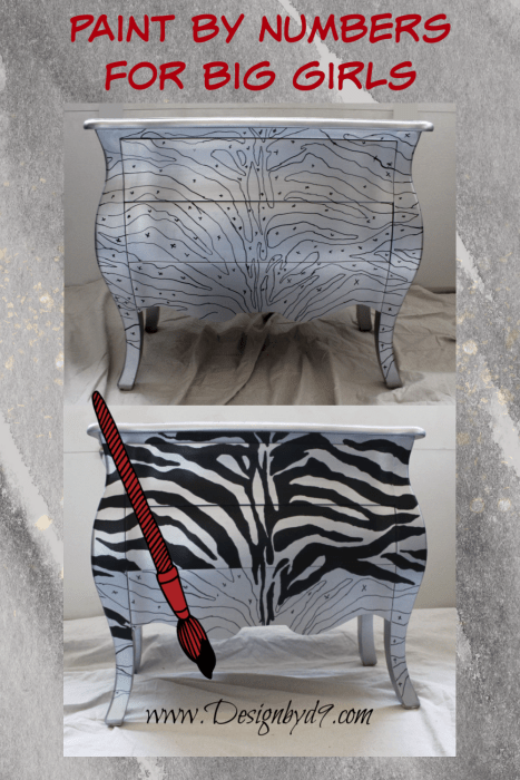 Up cycled Bombay chest with zebra stripes. Full step by step tutorial and free pattern. I'll walk you through this furniture makeover. This upcycle will work on any piece of furniture. Paint by numbers for big girls