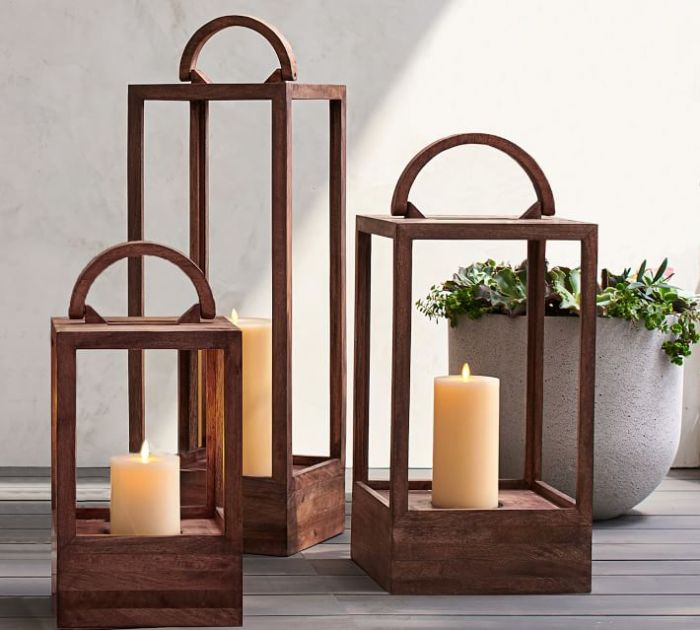 Pottery Barn mango wood lanterns