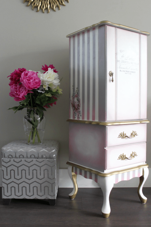 French provincial jewelry armoire makeover project. I used a combination of chalk paint, decoupage, furniture transfers and decor wax to give this old piece it's new look. pretty in pink.