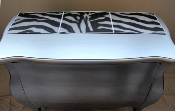 Pattern layout for zebra striped Bombay chest furniture upcycle