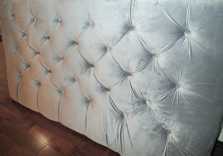 diamond tufted headboard|master bedroom| DIY Tufted headboard|tufted headboard|Velvet headboard|grey head board, greg's condo
