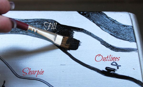 Painting between the lines for an up cycled furniture project