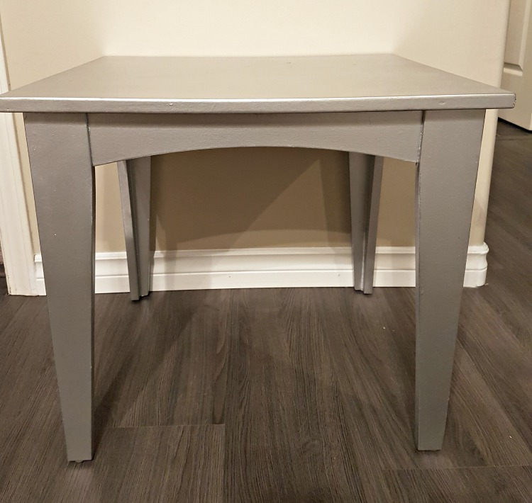 Painted end table, rustoleum spray paint, silver furniture