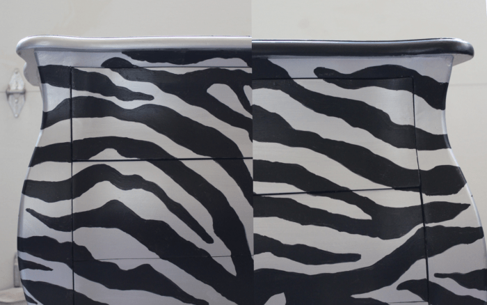 Trim choices for up cycled Bombay chest with zebra stripes