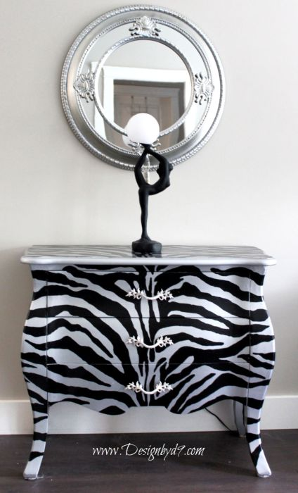 Up cycled Bombay chest with zebra stripes. Full step by step tutorial and free pattern. I'll walk you through this furniture makeover. This upcycle will work on any piece of furniture. With Art Deco accent