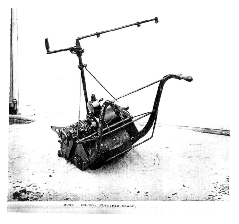 Expertimental pre-war Ransomes electric lawn mower