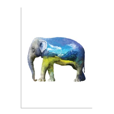 waterverf-olifant-a3-3