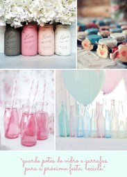 Garrafas e potes de vidro decorando festas
