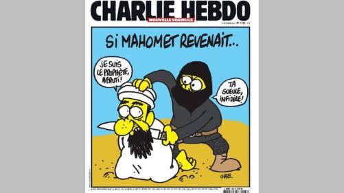 """""""Se Maomé voltasse"""", diz capa do jornal Charlie Hebdo. """"Eu sou o profeta, idiota"""", fala Maomé. """"Cale-se, infiel"""", grita o radical"""