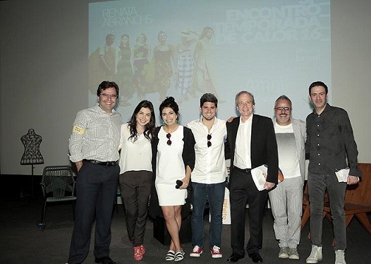 Renato Boaventura ( diretor da Rhodia Fibras),  Mayra Montel (Mkt Rhodia), Renata Abranchs (consultora), Rony Meisler  (Reserva), Fernando Pimentel (Abit), Ronaldo Fraga (estilista)  e Roberto Dawidowicz (UMA e Abest)