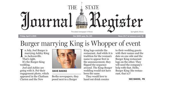 A história do casal no jornal