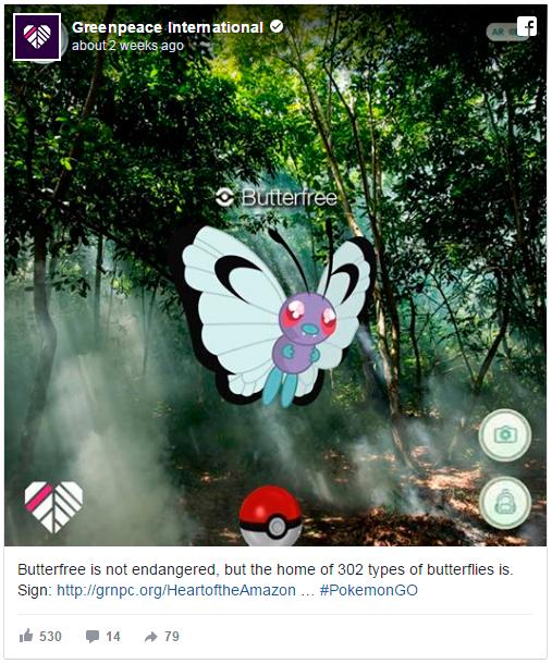 """Post de Facebook do Greenpeace: """"Butterfree não está em risco de extinção, mas o lar de 302 tipos de borboletas está."""" Imagem: Divulgação"""