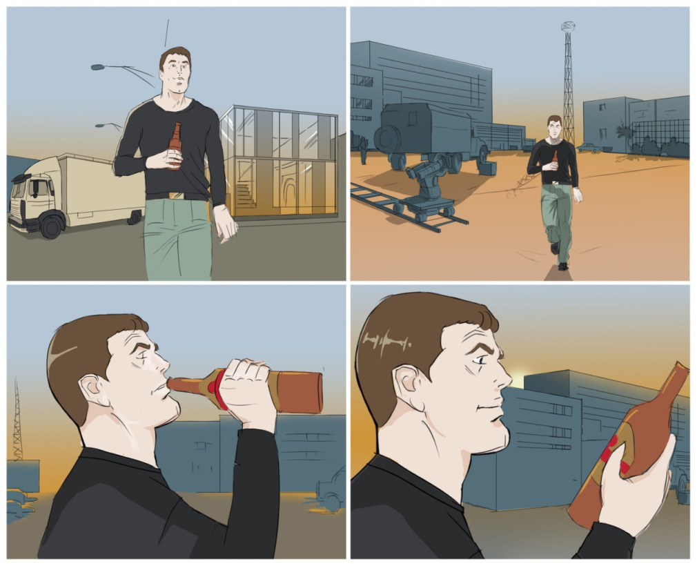 Worker with beer storyboards