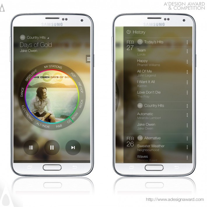 "Aplicativo de música para mobile ""Milk Music"", por Samsung Music Team."