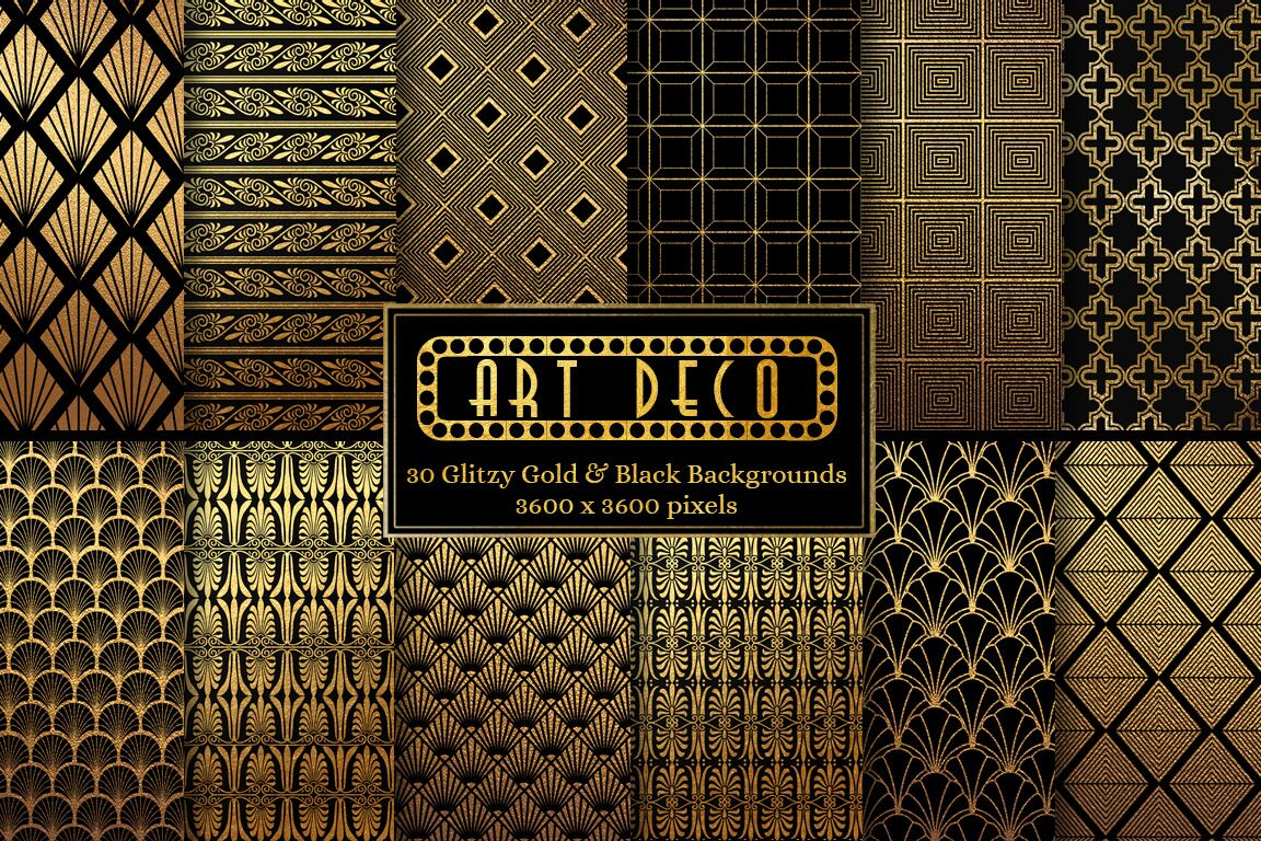 Art Deco Black And Gold Patterns Design Cuts