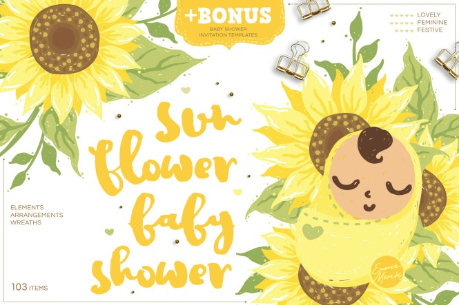 Sunflower Baby Shower With Invitation