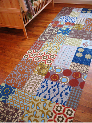 Flooring Fixes Colorful Carpet Squares in Nursery with Abstract Patterns