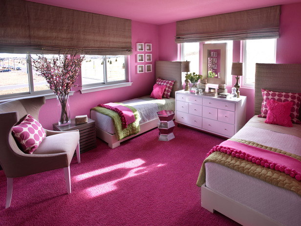 Sophisticated Girls Room Palette of Linen Hot Pink and Green  Design Dazzle