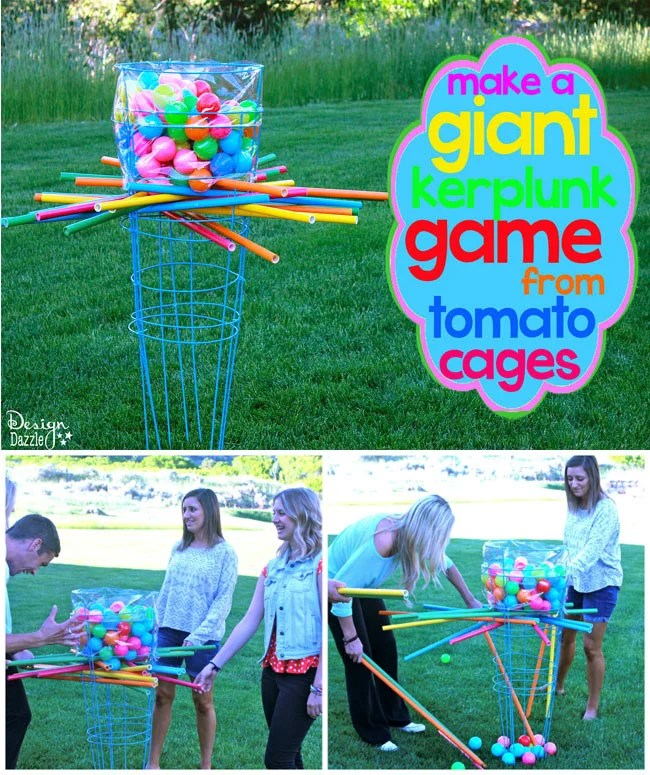 Giant Backyard Games: Make A Giant Outdoor Kerplunk Game From Tomato Cages