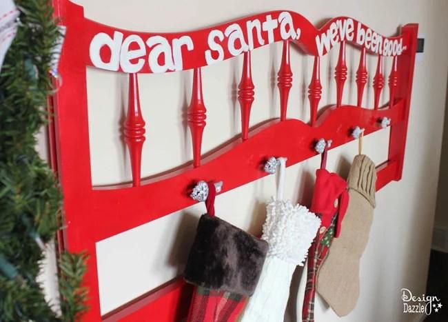 Repurposed Headboard Christmas Stocking Holder Design