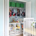 Closet with toy shelves under hanging clothes find more kids closet