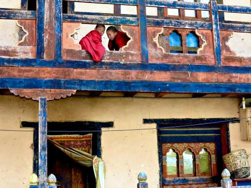 Novices in Bhutan curious about foreigners