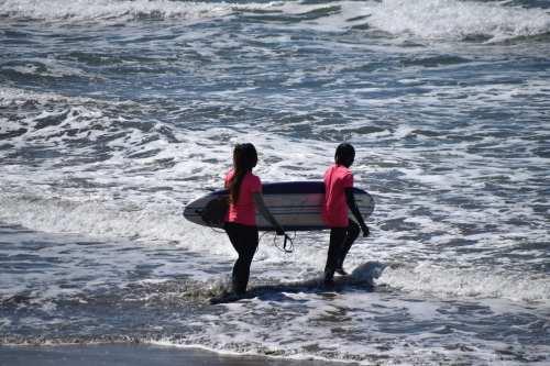 Surfing near Half Moon Bay
