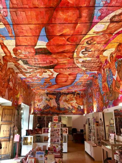Ceiling of the shop in the library in San Miguel de Allende