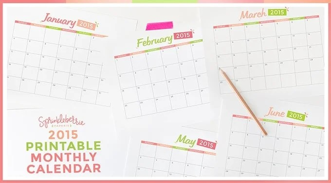 2015 Printable Monthly Calendar by Sprinkleberrie Paperie