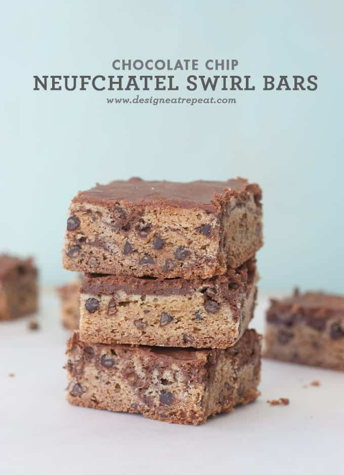 Chocolate Chip Neufchatel Swirl Bars by Design Eat Repeat